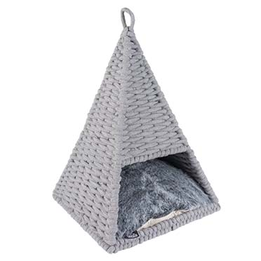 Oyster tipi in cotton rope Grey 37x37x55cm