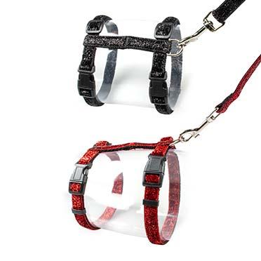 Cat walking set glitter Black/red 20-35cm / 10mm - 125cm