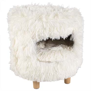 Cat house with long plush White 31x31x34cm