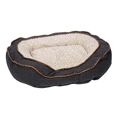 Bed oval fleece ergo Beige/black 70x60x19cm