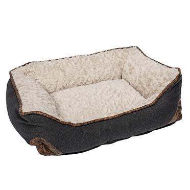 Bed rectangular fleece ergo Beige/black S - 48x41x16cm