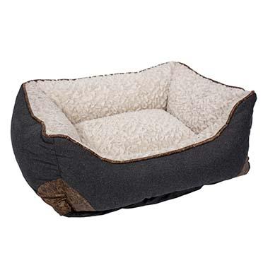 Bed rectangular fleece ergo Beige/black M - 62x53x24cm
