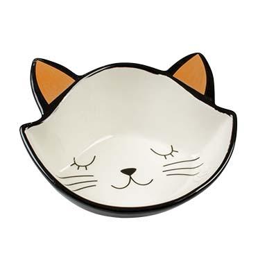Feeding bowl stone kitty face Black/white 200ml - 14,5x16,5x6,5cm