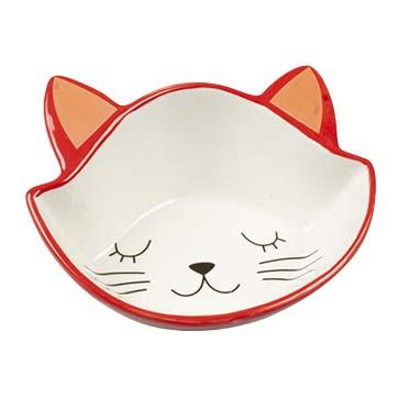 Feeding bowl stone kitty face Red/white 200ml - 14,5x16,5x6,5cm