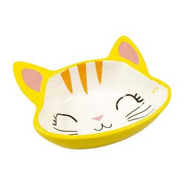 Feeding bowl stone kitty face Yellow/white 150ml - 12,5x11,5x4cm