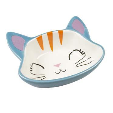 Feeding bowl stone kitty face Blue/white 150ml - 12,5x11,5x4cm