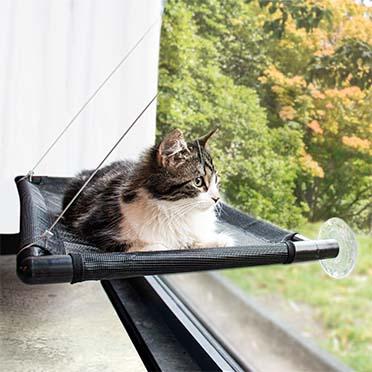 Fensterhängematte für katzen Schwarz 66x40x2,5cm