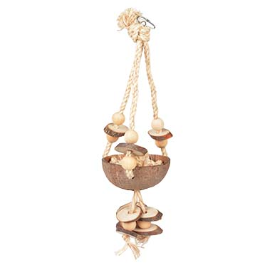 Coconut jungle swing with sisal & wooden blocks  46x15x13CM