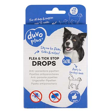 Flea & tick stop anti-parasite drops dog  5x2ml