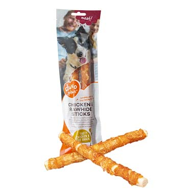 Meat! chicken & rawhide sticks large  25cm - ± 2st