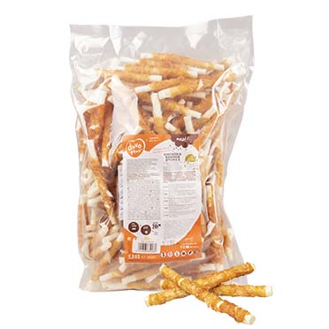 Meat! chicken & rawhide sticks small  12,5cm - 2500g - ± 208st