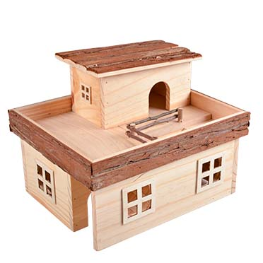 Knaagdieren houten mansion 31x25x24CM