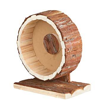 Wooden activity wheel in bark  20x12x22,5CM
