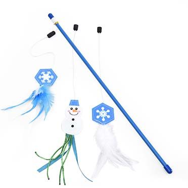 Xmas playing rod with 2 toys Blue 46,5x19cm