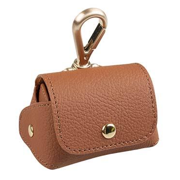 Poo bag dispenser leatherette Brown 6,5x8,5x9cm