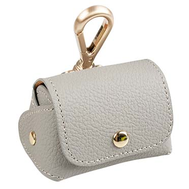 Poo bag dispenser leatherette Grey 6,5x8,5x9cm