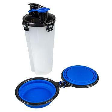 2-in-1 travel dinner set Blue/black 350ml - 11x11x23cm