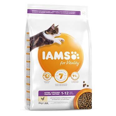 Iams for vitality kitten chicken 3kg