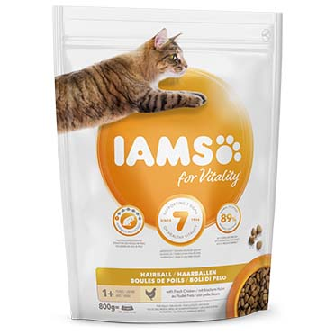 Iams for vitality adult cat hairball chicken  800g