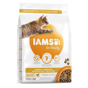 Iams for vitality adult cat hairball chicken  1,5kg