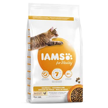 Iams for vitality adult cat hairball chicken  3kg