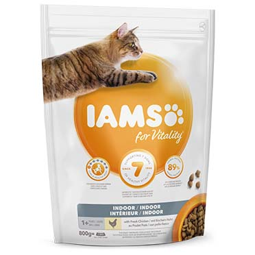 Iams for vitality cat adult indoor chicken  800g